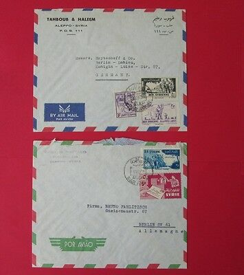 SYRIA to germany 2 covers ALEP ALEPPO air post cancel stamps