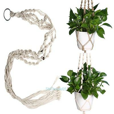 Vintage Plant Hanger Flower Pot Holder Macrame 4 Leg String Hanging Rope Basket