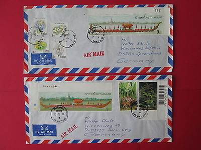 THAILAND to germany 2 covers 1996 2001 royal barge boat flower stamps