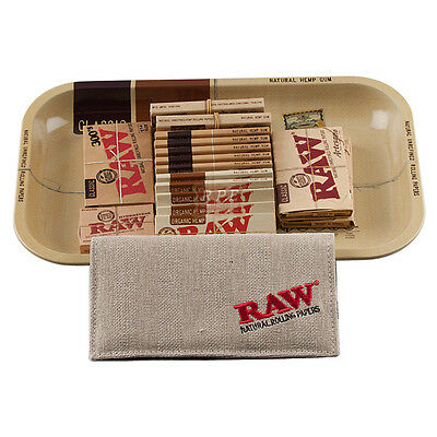 Raw Metal Rolling Tray and Smoking Papers Kit - Super Value