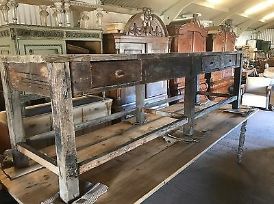 Huge, 8.5ft Long, Antique, Oak, French Farm Table, Vintage, Country, Industrial