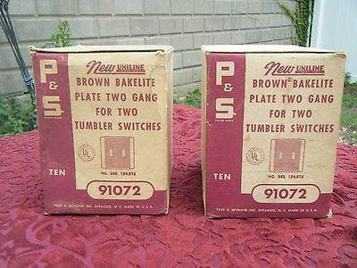 Vintage P&s Brown Bakelite Double Electric Light Switch Plate Covers W/packaging
