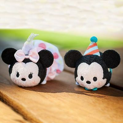 Authentic Disney Mini Tsum Tsum Birthday Mickey and Minnie Mouse 2PC