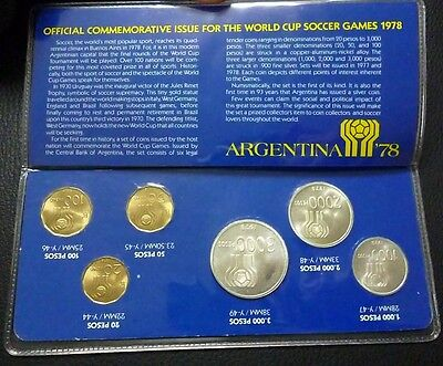 ARGENTINA BLISTER X 6 COINS (Silver-CuNiAl) Worldcup Argentina '78 (Coinage 78)