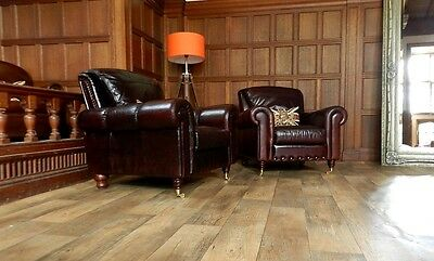 Pair Of Victorian Style Cigar Conker Brown Leather Chesterfield Club Armchairs