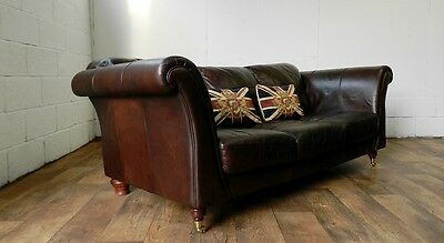 Victorian Style Conker Brown Leather Chesterfield 3 Seat Chesterfield Club Sofa