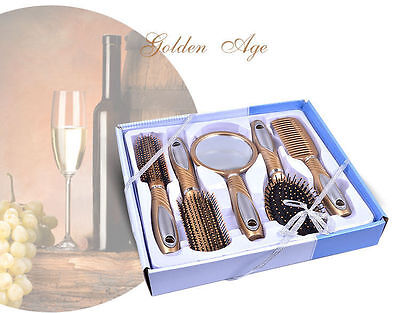 5 Pcs Hair Styling Salon Professional Brush Comb Gift Set Kit Mirror Gold UK