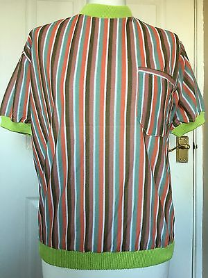 1970s Striped Velour Top - Lime Green Collar And Cuffs - Pocket - Size 12 14
