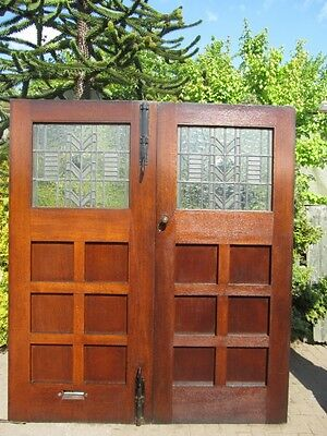 Pair of Arts & Crafts Mission Oak Double Front Entry Doors - Frank Lloyd Wright
