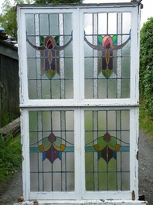 "HUGE ANTIQUE ENGLISH LEADED STAINED GLASS WINDOW PANEL 1900s - 84.5"" X 50"""