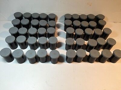 50 Vintage Black Plastic 35mm Film Canisters Containers Empty