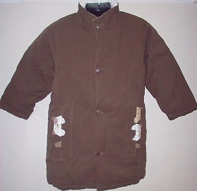 New 100% Cotton Girls Coat Medium 6-8 Years Brown