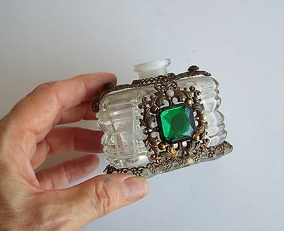 Antique Czech Perfume Bottle Glass with Filigree & Green Glass Stones