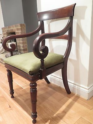 Beautiful Victorian Mahogany scrolled arm Library chair or Carver Chair