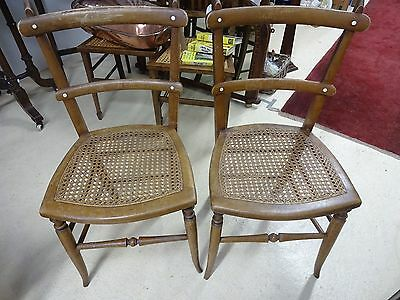 Antique Pair of Cane Seat Chairs