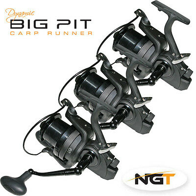 NEW 3x NGT BIG PIT REELS/ SUPERB CARP FISHING DYNAMIC 9000 BAIT HOOK RUNNERS