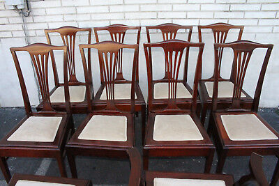 Great Set of Ten 10 English Sheraton Solid Mahogany Dining Room Chairs