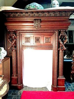 Antique Gothic Belgian Fireplace Mantel Surround, Medium-Walnut, MAKE OFFER