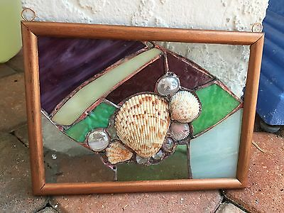 LEADED STAINED GLASS Sea Shells CRYSTALS Copper Foil Suncatcher WINDOW Decor