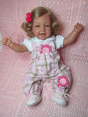 """Secrist laughing baby girl, precious 21"""" with doe suede weighted body"""