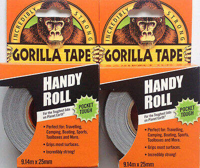 2 x Gorilla Glue Duct Tape 1 Inch Handy Roll Tough Extra Strong Waterproof 9m