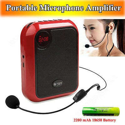 T200 Portable Loud Voice Booster Amplifier Headset Microphone+Free 18650 Battery