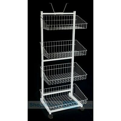 Retail Clearance Dump Bin Collapsible Stacking Wire Basket Stand On Wheels