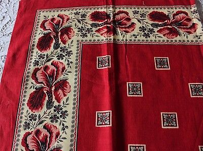 "French Antique c1870 Printed Cotton Bandana Sample~Turkey Red~13"" Square"