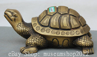 "8"" China Copper Folk Fengshui Longevity Tortoise Turtle Animal Statue Sculpture"
