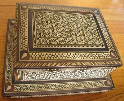 Beautiful Antique Islamic Wood Inlayed Cigarette Box Middle East Arabic