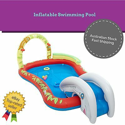 NEW Kids Toddler Inflatable Swimming Pool with Water Slide Spray Splash Paddle