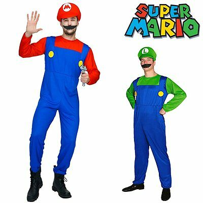 Super Mario Luigi Brothers Nintendo Video Game Halloween Men Fancy Dress Costume
