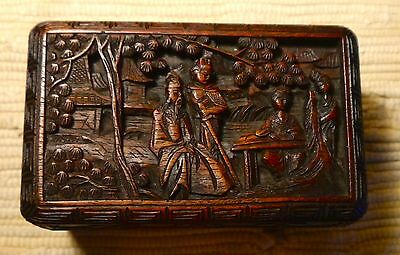 Vintage or antique Chinese box with deeply carved in sandalwood