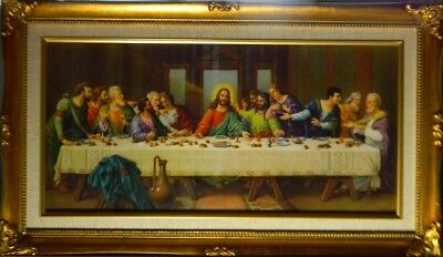 last supper by zabateri ornate gold leaf wood frame with linen mat 14