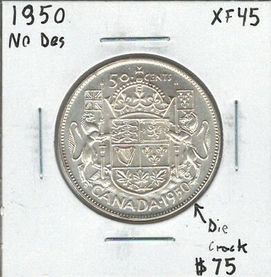 Canada 1950 Silver 50 Cents No Design + Die Crack EF45