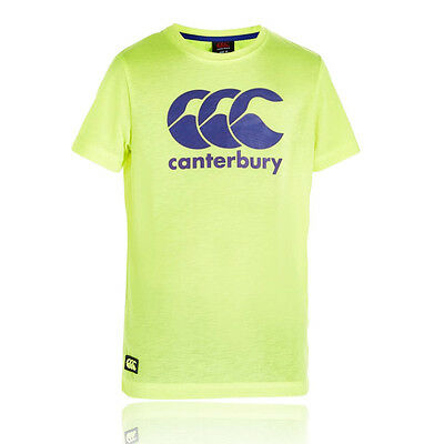 Canterbury CCC Logo Junior Yellow Green Short Sleeve Rugby T Shirt Tee Top