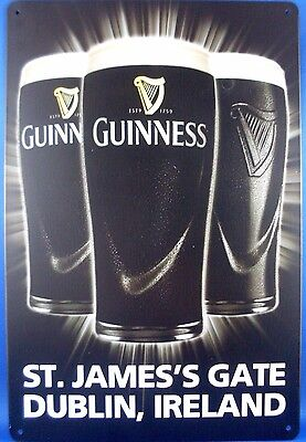 New GUINNESS DRAUGHT STOUT Tin Metal Sign Breweriana Advertising Man Cave Bar AU