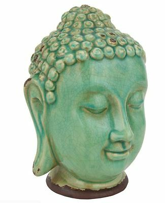Oriental Furniture Glazed Ceramic Thai Buddha Head Statue Decor Figurine Home