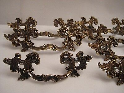 Ornate Antiqued Brass Drawer Handles / Pulls - Set Of 6 / Vintage