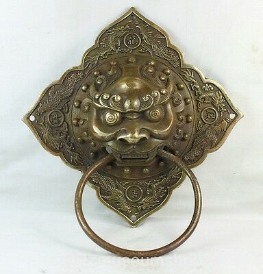 "7"" Chinese Fengshui Copper Lion Fu Foo Dog Mask Head Phoenix Dragon Door knocker"
