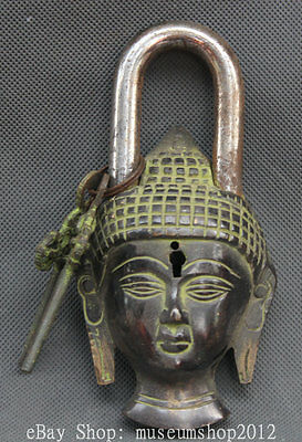 Old Tibet Buddhism Bronze Shakyamuni Amitabha Buddha Head Home Lock Key Set