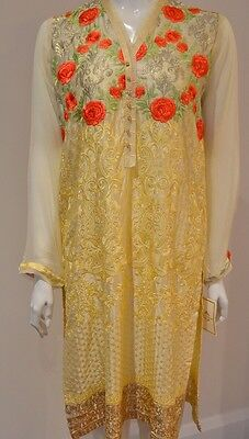 Agha Noor Lemon Silk Kurta With Floral Embroidery