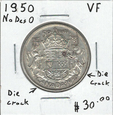 Canada 1950 Silver 50 Cents No Design + Die Cracks VF