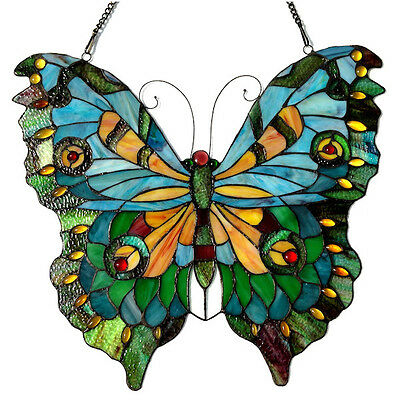 Butterfly Window Stained Glass Tiffany Design Decorative Butterflies Panel Decor
