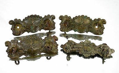 (4) Antique Brass Ornate Rustic Pull Handle Drawer Cabinet Hardware Victorian