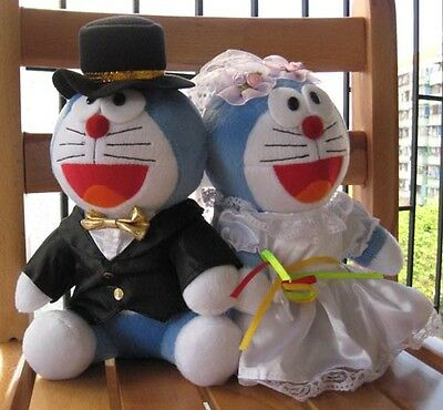 "2X Japan Anime Doraemon Wedding Plush Toy Doll 10"" PW3"