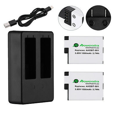 2 Pack 1500mAh AHDBT-501 Battery + USB Dual Charger For GoPro Hero 5 Black Hero5