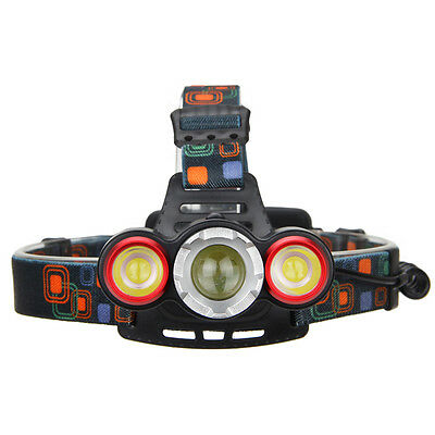 Rechargeable 15000LM 3*XML-T6+2R5  LED Zoomable Headlamp 4Mode 2x18650 Headlight