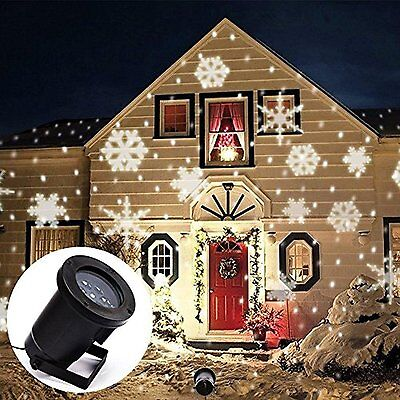 2x Snowflake Moving Outdoor Sparkling LED Landscape Laser Projector Xmas Light