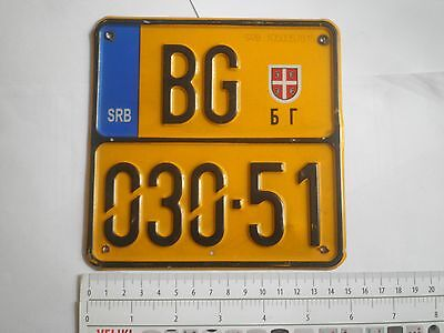 LICENSE PLATES yellow color Serbia for moped scooter motor motorcycle Belgrade
